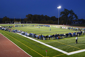 Prayer on the our new football, soccer, and track field.